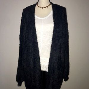 Sweaters - Fuzzy Open Cardigan in Black